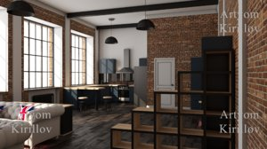 3D loft interior design room