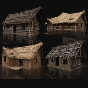 aaa gen cottage huts 3D model
