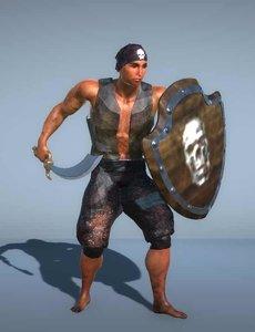 pirate sword shield 3D model