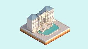 cartoon landmark 3D model