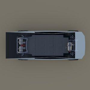 3D tesla cybertruck chassis