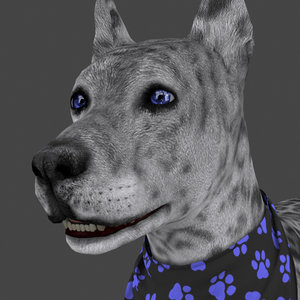 rigged female dog idle 3D model
