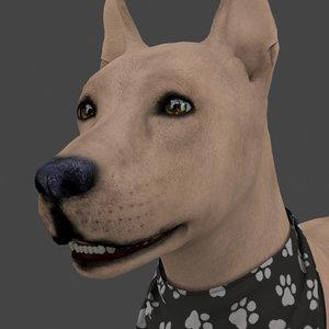 rigged female dog idle model