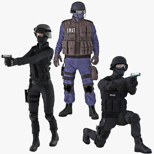 3D swat policemans rigged 2 model