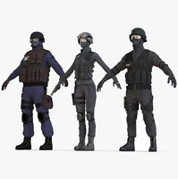 swat policemans rigged 2 3D model