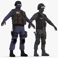swat policemans rigged 3 3D model