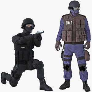 3D swat policemans rigged 3