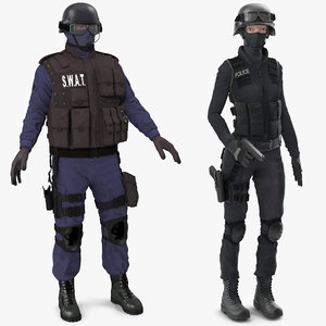 swat policemans rigged woman 3D model