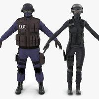 swat policemans rigged model