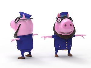 3D model pig captain-cartoon cartoon character