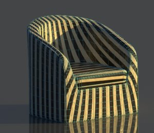 rounded reception chair interior 3D model
