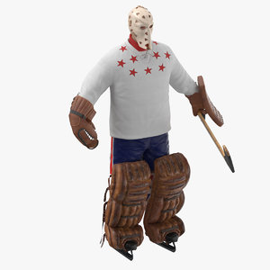 3D ice hockey goalie pose