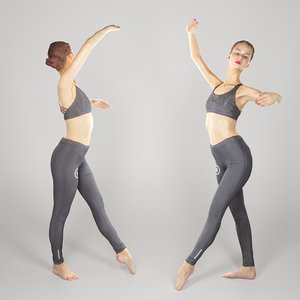 3D scanned human sporty young woman model