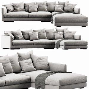 flexform magnum chaise lounge 3D model