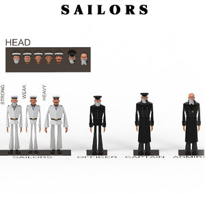 3D soldiers sailors characters officers
