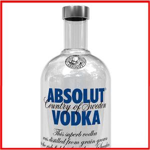 3d absolut vodka bottle