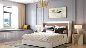bedroom neoclassical interior design 3D model