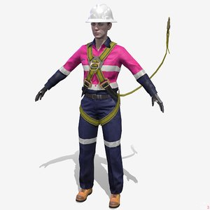 3D rig safety female worker model