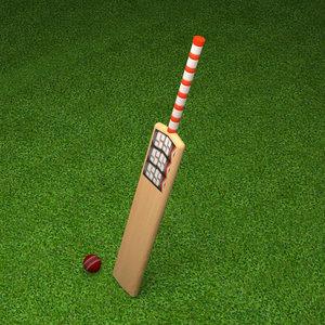 3D cricket bat ball