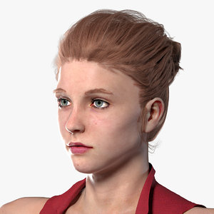 realistic woman rigged 3D model
