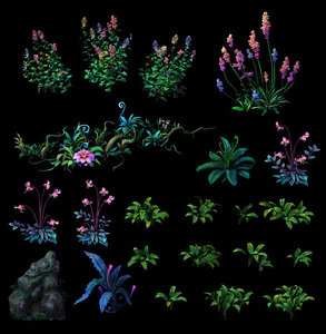 cartoon flowers grass 3D