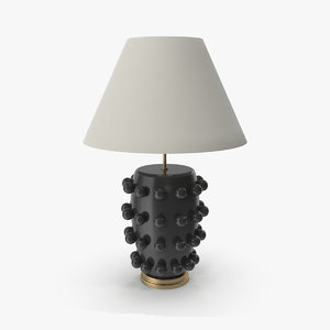 3D linden table lamp black