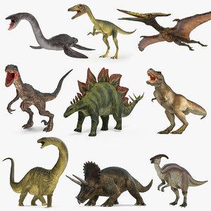 dinosaurs 4 rigged 3D model