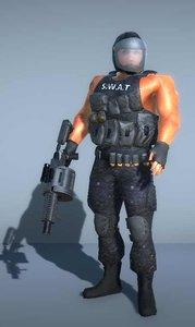 3D model swat soldier grenade launcher