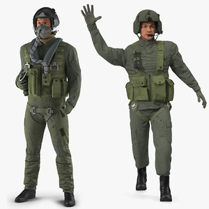 military pilots rigged 3D model