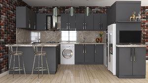 3D kitchen furniture design interior