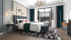 3D model bedroom neoclassical interior scene