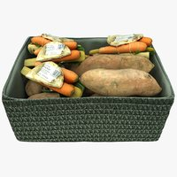 wicker basket vegetables 3D