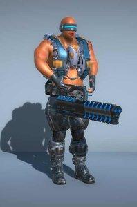 3D sci-fi cyborg-soldier laser gun