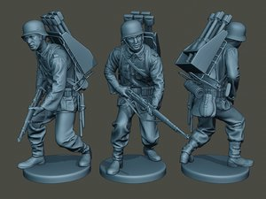 3D german soldier ww2 action