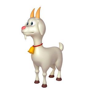 goat cartoon character 3D model