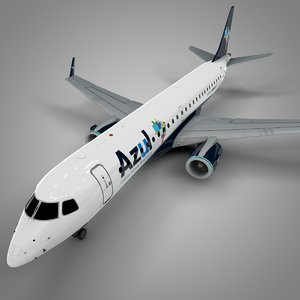 azul brazilian airlines embraer190 3D model