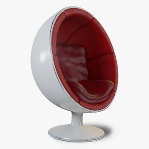 vintage retro ball chair 3D