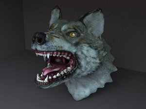 grin wolf animation character 3D model