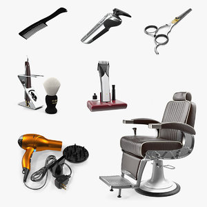 3D model barbershop 3 barber salon