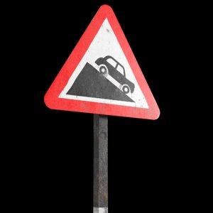 3D steep descent roadsign