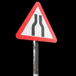 narrow road ahead roadsign 3D