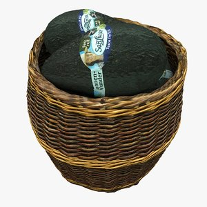 wicker basket avocados 3D model