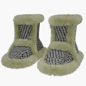 slipper fur 3D model