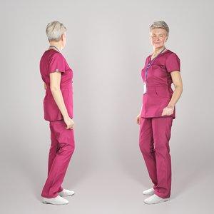 adult woman uniform surgical 3D model