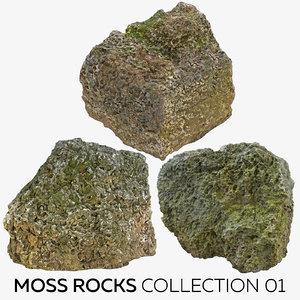 moss rocks 01 3D model