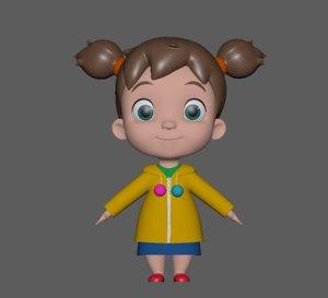 3D baby girl model