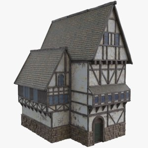3D half timbered tudor house