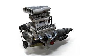 3D vintage v8 engine
