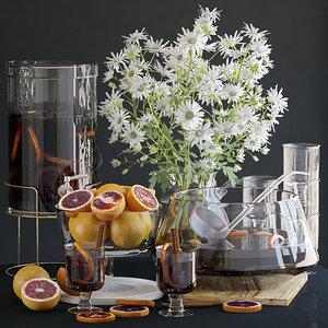kitchen set grapefruit 3D model