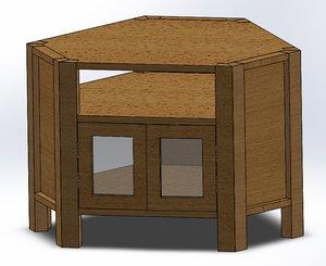 3D model wood hinge shelf